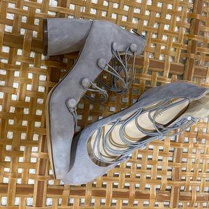 Nine West gray block heels